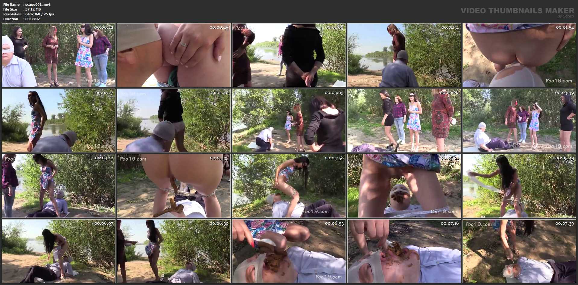 [SCAT FEMDOM MEDLEY] Russian girls shit in a man's mouth in nature 2 [LQ][360p][MP4]